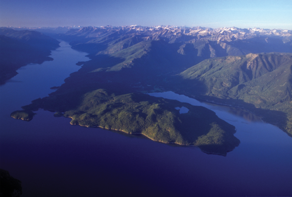 Pilot Peninsula, Kootenay Lake, the Selkirk and Purcell Mountain Ranges