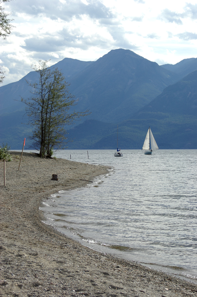 Gray Creek Beach and Sailboat
