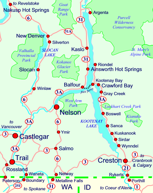 Kootenay Lake Route Map